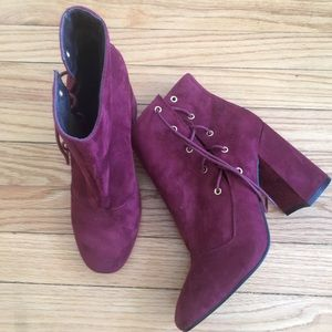 ASOS Burgundy Tie Side Boots